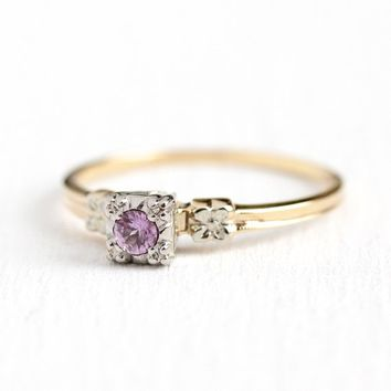 Pink Sapphire Ring - Vintage 14k Yellow & White Gold Genuine .15 CT Pink Gemstone Solitaire - Size 9 1/2 Alternative Engagement Fine Jewelry