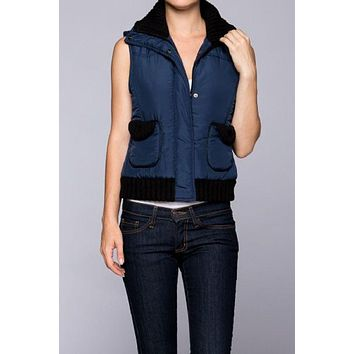Puffer Padded Vest Zipper & Button Down Waistcoat Jacket With Double Pockets