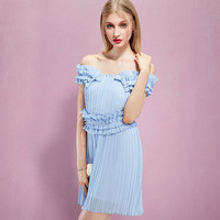 Casual Light Blue Multi Layer Ruffle Off Shoulder Mini Pleated Dress
