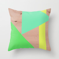 Maple Wood Abstract (Greens) Throw Pillow by Natalie Baca