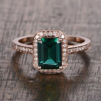 6x8mm Lab Emerald Engagement ring Rose gold,Diamond wedding band,14k,Emerald Cut Treated,Green Gemstone Promise Ring,Bridal,Halo pave set