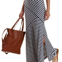 Navy Combo Mixed Stripe Maxi Skirt by Charlotte Russe