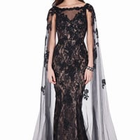 Sexy Mermaid Lace Prom Dress Stunning floor length Evening dress with matching sheer cape Prom Gown Vestido De Formatura Longo