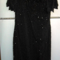 Sale    Sale    Vintage BLACK BEADED Dress, Size PM, New old stock, by Lawrence Kazar