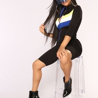 Turbo Charged Colorblock Romper - Black