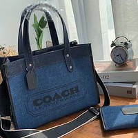 COACH 2020 new canvas shopping bag tote bag mother and child two-piece suit