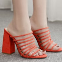 Hot style with Roman chunky heels and sandals