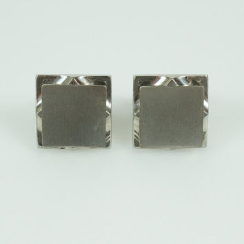 Vintage Mid Century Modernist Geometric Dimensional Square Cuff Links, Vintage Formal Silver Tone Square Cufflinks Gift for Dad Husband Son