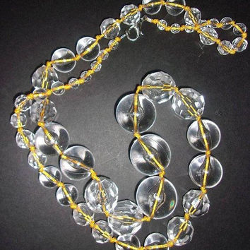 Long Clear Lucite Graduating Balls Necklace, Hand Knotted, Faceted and Smooth, Vintage