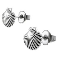 Journee Collection Sterling Silver Clam Shell Stud Earrings - Silver