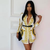 Fashionable Women Personality Print Long Sleeve Lapel Shirt Dress