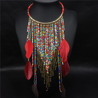 Feather Necklace Fashion Nigerian choker Handmade African Beads Tassel Feather Necklaces Boho Chic Style American Indian Jewelry