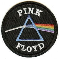 Pink Floyd Iron-On Patch Round Dark Side Logo