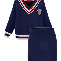Navy V-neck Striped Knitted Top And Pencil Skirt