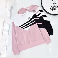 """Adidas"" Women Multicolour All-match Stripe Fashion Letter Round Neck Logo Long Sleeve Sweater Tops"