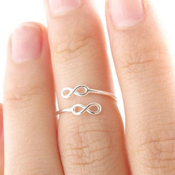 double infinity ring personalized ring women ring charm ring Z003