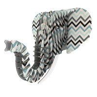 "Heidi Jennings ""Blue Chevron"" Gray Aqua Eyan Elephant Bust Jr."