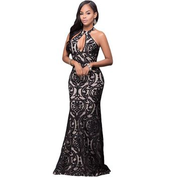 Elegant Women Vintage Maxi Dress Hater Neck Flower Mermaid Dress Sleeveless Backless Evening Gown Long Party Dresses Black/White