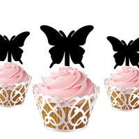 6 pcs a set butterfly CupCake toppers cake decor for kids birthday party, acrylic cupcake toppers pary decor, funny cake topper supplies