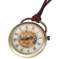 Mens Skeleton Pocket Watch Quality Mechanical Movement Hand Wind Roman Numerals Vintage Style - PW17