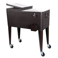Rolling Ice Chest Portable Patio Party Bar Drink Outdoor Cooler Cart on Wheels