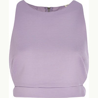 River Island Womens Lilac ribbed cut out crop top