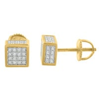 Mens Gold Finish Earrings Square Cube Style