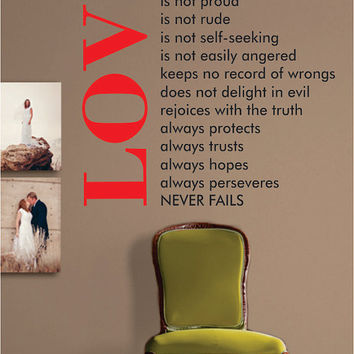Love is Patient Big Quote Decal Sticker Wall Vinyl Decor Art