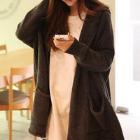 Deep Gray Hooded Double Pocket Knitted Cardigan