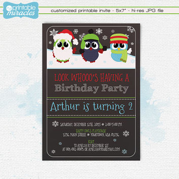 Winter owls invitation, Chalkboard owls invitation, Owl birthday party invites, Owls birthday, Owl invite, Show owls invitations