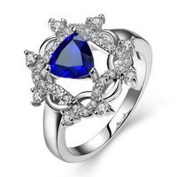 White Gold Plated Roman Design Inspired Saphire Ring