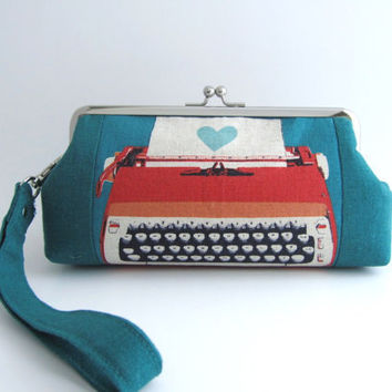 Wristlet frame clutch- stripe patchwork-typewriter in teal