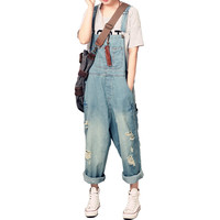 Women's casual loose denim overalls Lady's hole ripped jeans Wide leg pants for woman