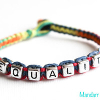 Equality Bracelet, Equal Rights, LGBTQ Rainbow Accessory, Gift Idea, Gay pride Month, It Gets Better