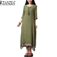 ZANZEA Cotton Linen Dress 2017 Fashion Summer Autumn Women Casual Loose Boho Vintage Long Maxi Dresses Vestidos Plus Size S-4XL