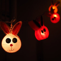 SALE Super Cute rabbit bunny Fairy String Light - 20 rabbit Lights Fairy lights Party Decor Wedding Garden Spa and Holiday Lighting