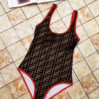FENDI Summer New Fashion Hot Sale Stylish Sexy Print Vest Type Swimsuit Beach Bathing Women One Piece Bikini Bodysuit