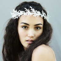 New Year's Eve Crown, Greek, Winter Goddess, Leaf Headband, Festive, Tiara, Headpiece, Unisex, Snow, Queen, Princess Crown, Crystal, Ice
