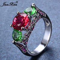 JUNXIN Male Female Multi-Color Round Ring White Gold Filled Jewelry Vintage Wedding Engagement Rings For Men And Women