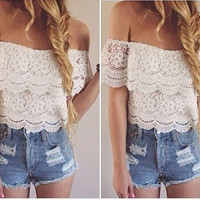 LandFox 2016 Hot Sale Women Blouse Summer Clothes Sexy Women Lace Crochet Tops Off-Shoulder Tee Shirt Casual Blouse Sexy Sweet