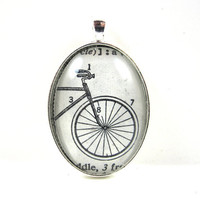 Dictionary Illustration Pendant from Vintage -- Bicycle -- in Glass Tile Oval