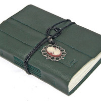 Green Leather Journal with Cameo Bookmark