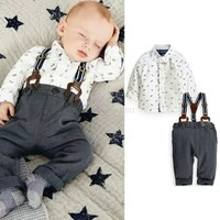 Baby Boy Toddler T-shirt Top+Bib Pants Overalls 2PCS Set Outfit Clothes 3M-2Y
