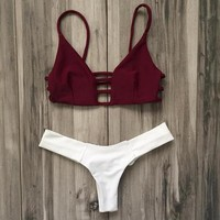 Strap Hollow Beach Bikini Set Swimsuit Swimwear
