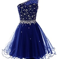 Dresstells® Women's One Shoulder Prom Dresses Homecoming Dress with Beads Royal blue Size 20W
