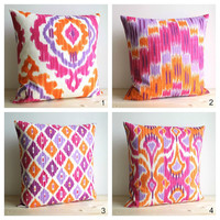 Orange and Pink Ikat Pillow Cover  18 x 18 Ikat by CoupleHome