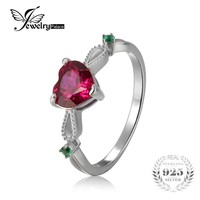 JewelryPalace Fashion 1.72ct Created Ruby & Emerald 3 Stone Ring 925 Sterling Silver Jewelry Wedding Engagement Rings For Women