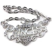 Princess Crown Tiara Heart Pendant Necklace Clear Rhinestones Wedding Bridesmaid Prom Fashion Jewelry
