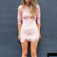 Lioness - Killer Lace Dress in Pink Blush