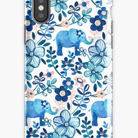 'Blush Pink, White and Blue Elephant and Floral Watercolor Pattern' iPhone Case/Skin by micklyn